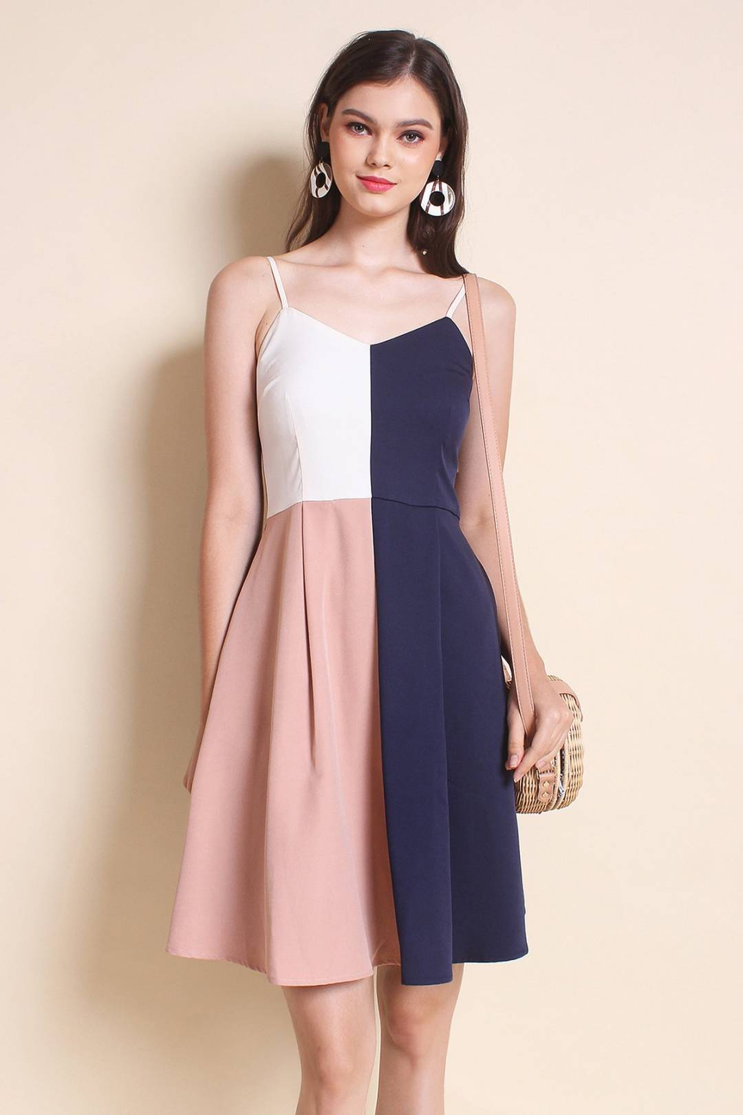 LEONIE COLOURBLOCK SPAG WORK DRESS IN NAVY/PINK [XS/S/M/L]