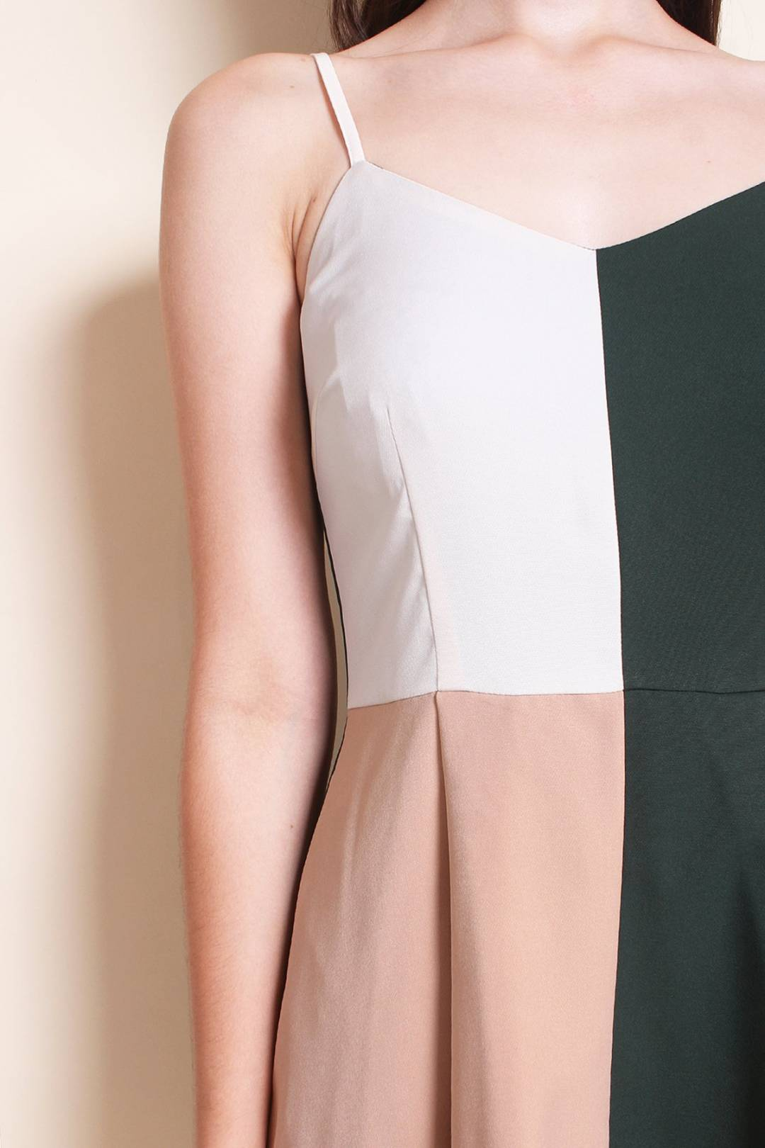 LEONIE COLOURBLOCK SPAG WORK DRESS IN FOREST/NUDE [XS/S/M/L]