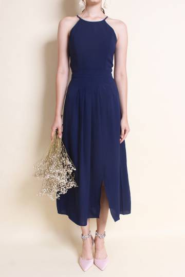 MADEBYNM TERRA PLEAT OVERLAPPING MAXI DRESS IN NAVY BLUE [XS/S/M/L]