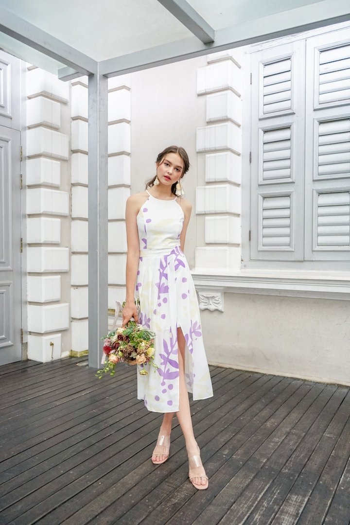 MADEBYNM TERRA PLEAT OVERLAPPING MAXI DRESS IN VIOLET/BUTTER [XS/S/M/L]