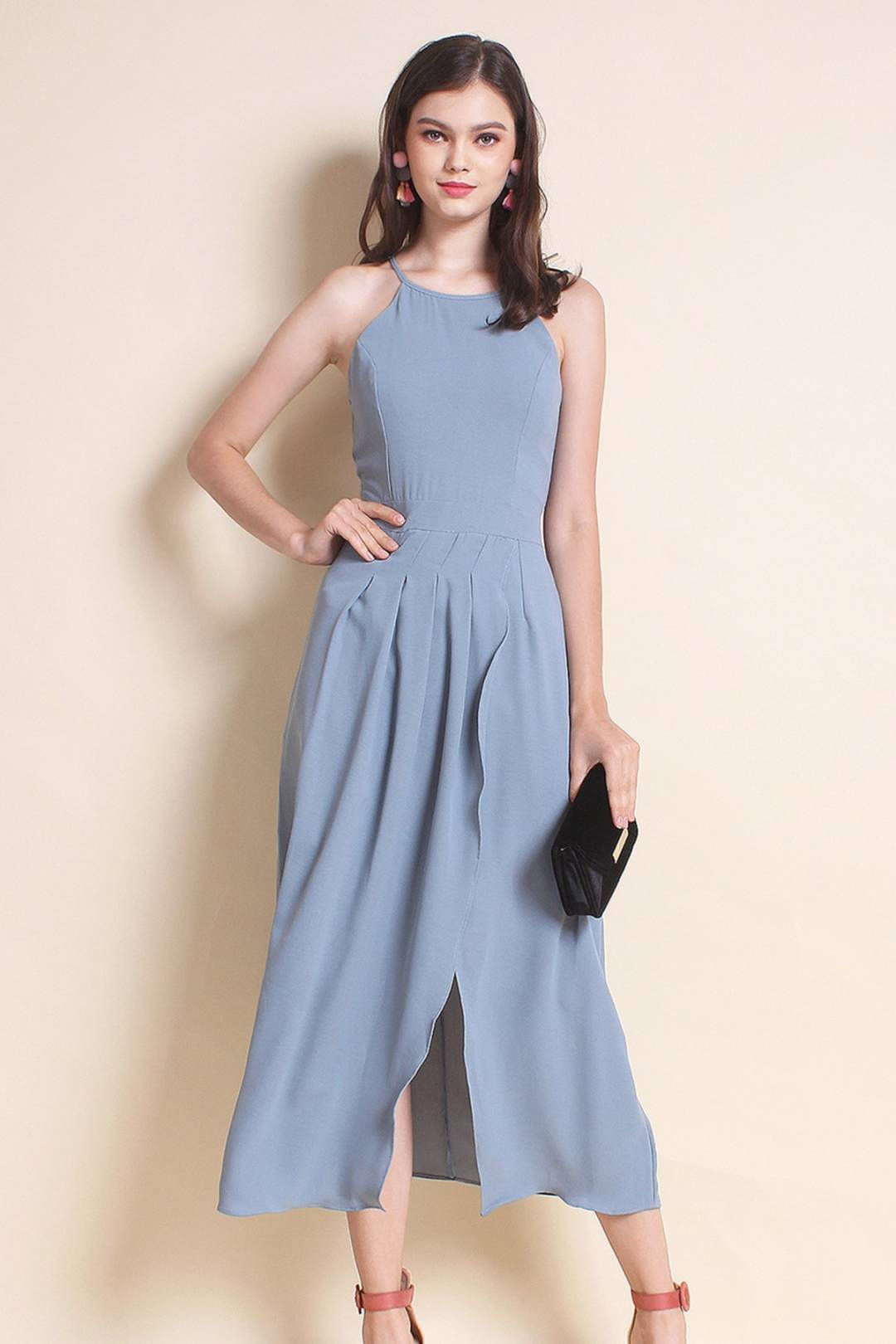 MADEBYNM TERRA PLEAT OVERLAPPING MAXI DRESS IN SEASALT [XS/S/M/L]