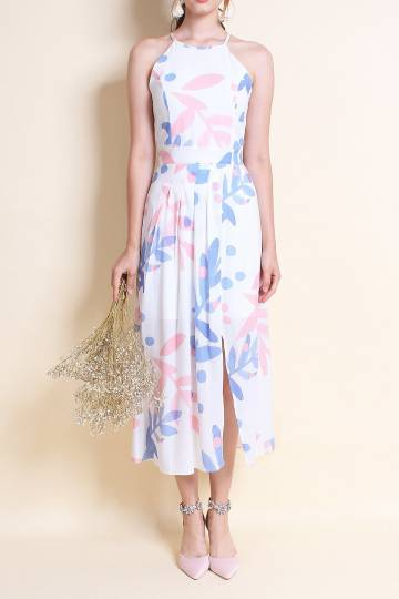 MADEBYNM TERRA PLEAT OVERLAPPING MAXI DRESS IN BLUE/PINK [XS/S/M/L]