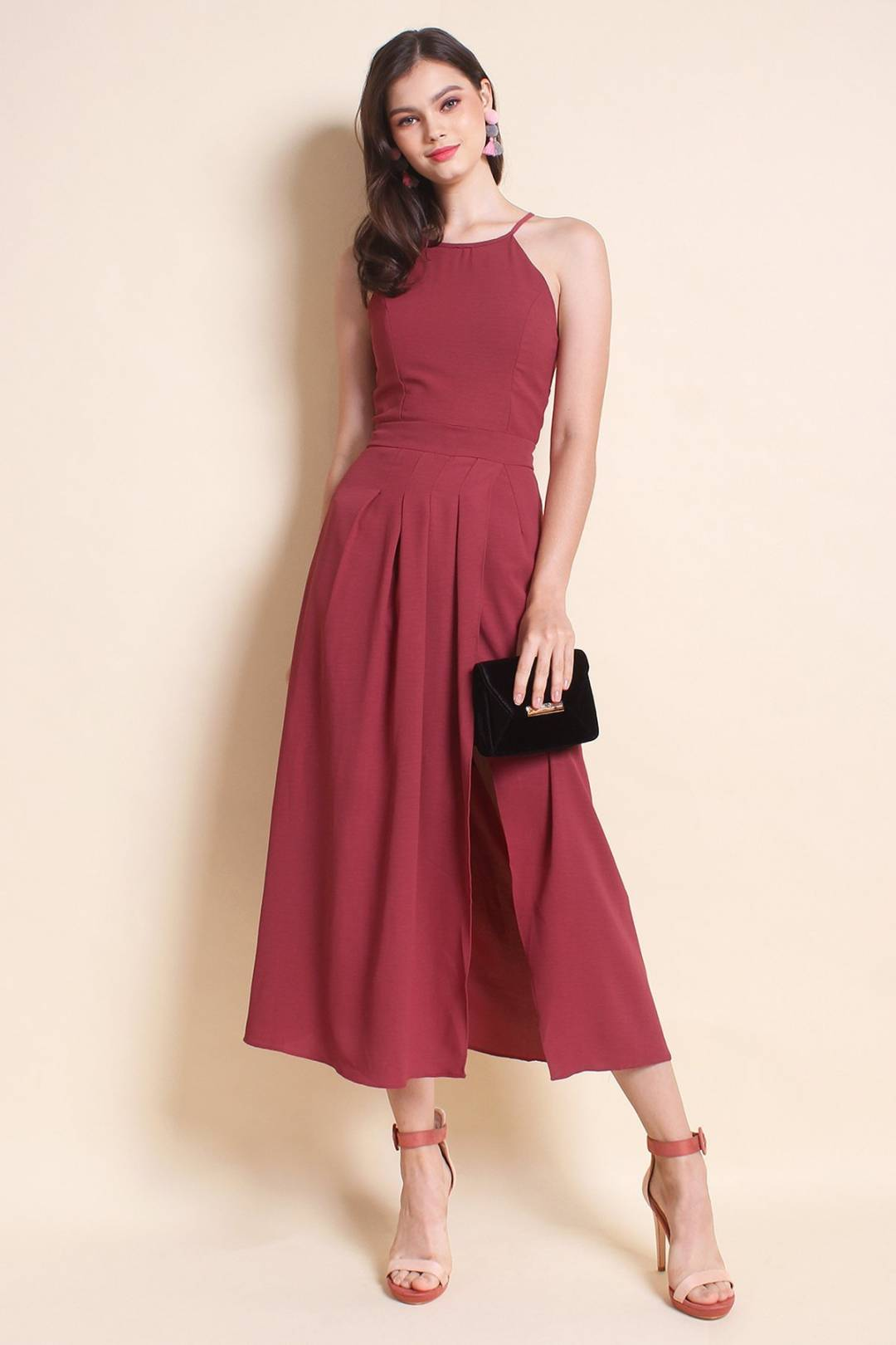 MADEBYNM TERRA PLEAT OVERLAPPING MAXI DRESS IN SANGRIA ROSE [XS/S/M/L]