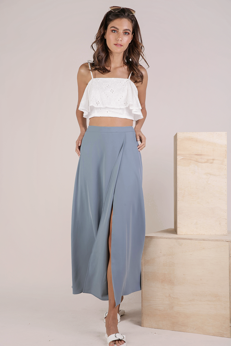 61c1f4b08 Odelia Slit Maxi Skirt (Dusty Blue). From The Tinsel Rack