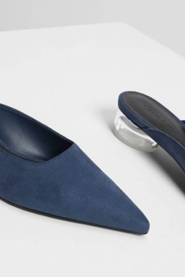 Lucite Heel Pointed Mules