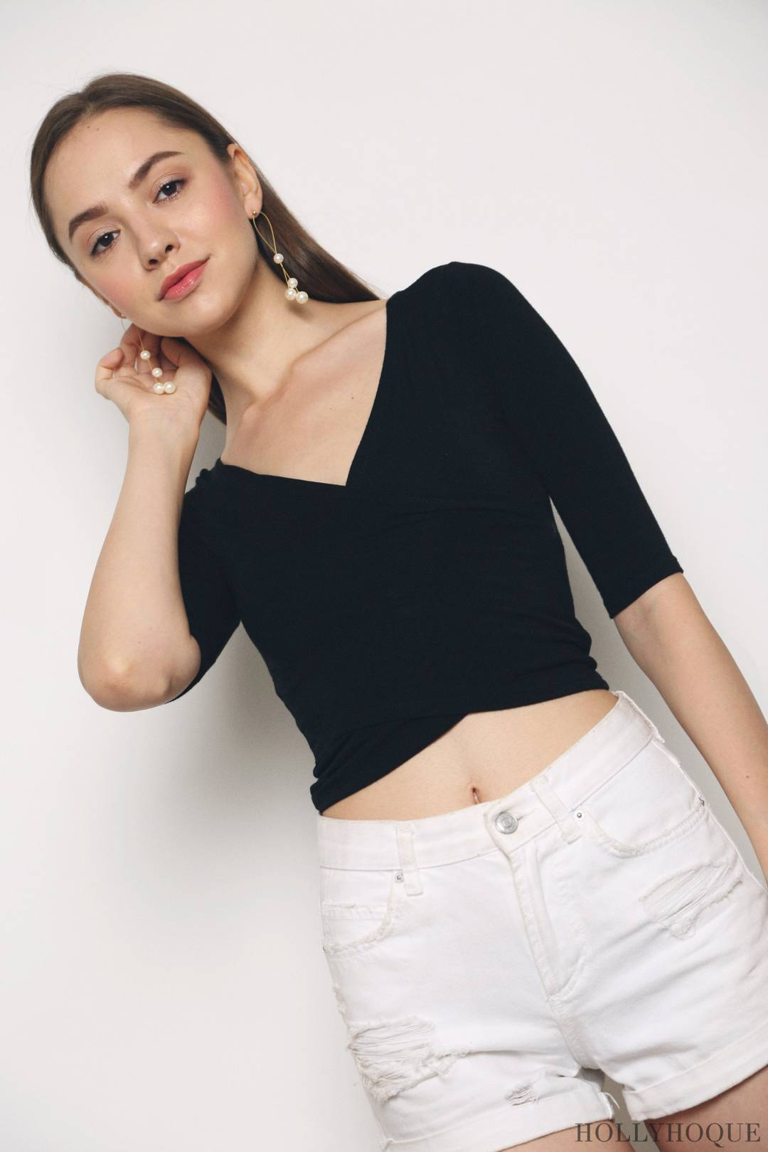 Chic Overlap Cropped Top Black (Restock)