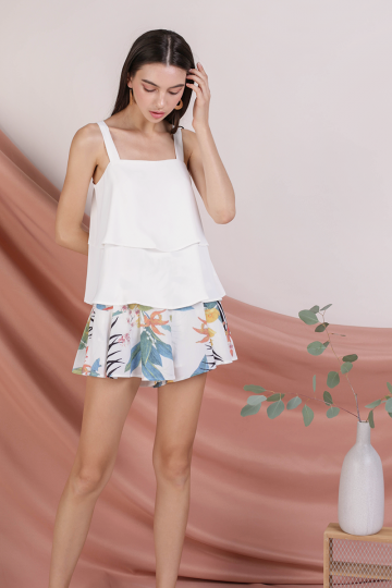 *BACKORDER* Hena Double Tiered Top (White)