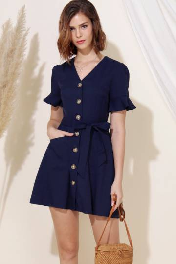 Destiny Button Down Flared Dress (Navy)
