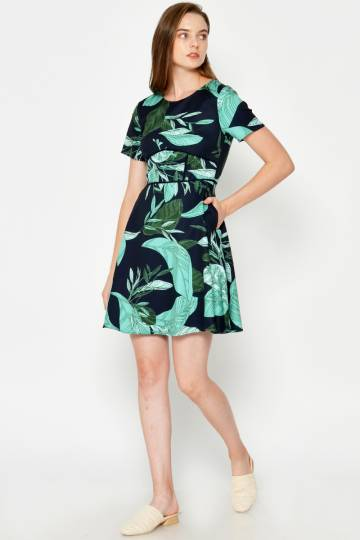 OHARA LEAF PRINTED FLARE DRESS NAVY