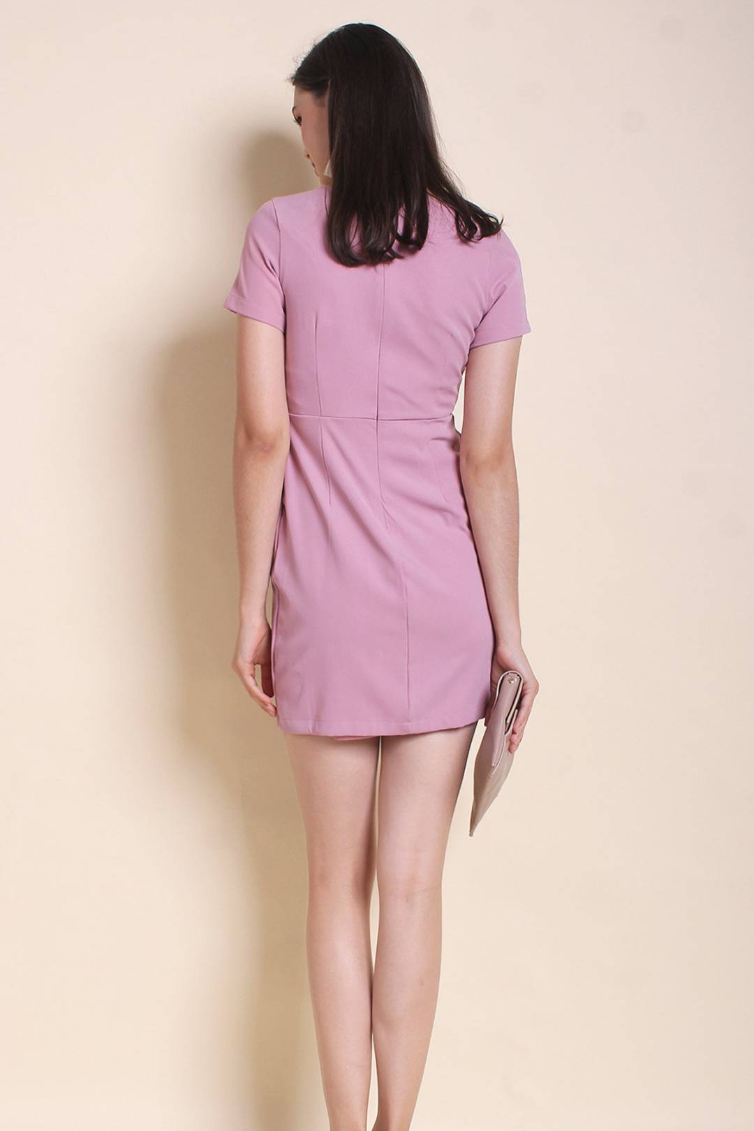 MADEBYNM DORSET V-NECK FIT N FLARE WORK DRESS IN SPANISH PINK [XS/S/M/L]