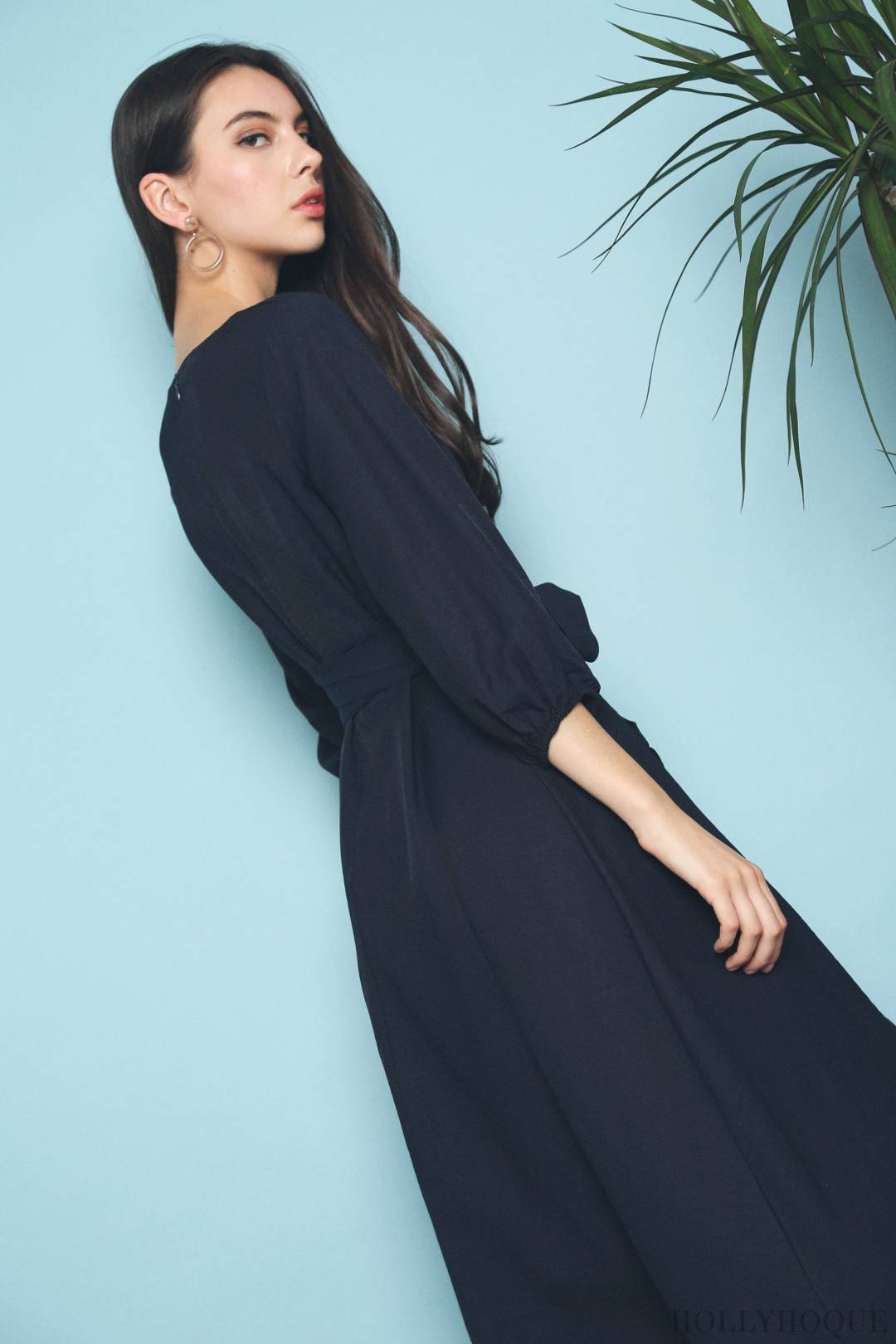 Terra Sleeves Midi Dress Navy