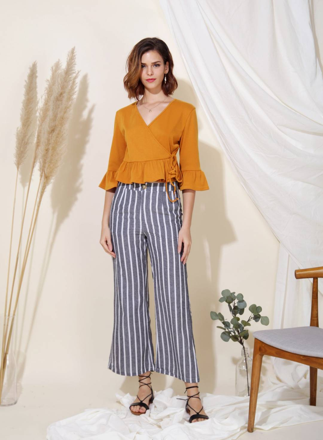 Yonder Ribbed Knit Wrap Top (Ochre)