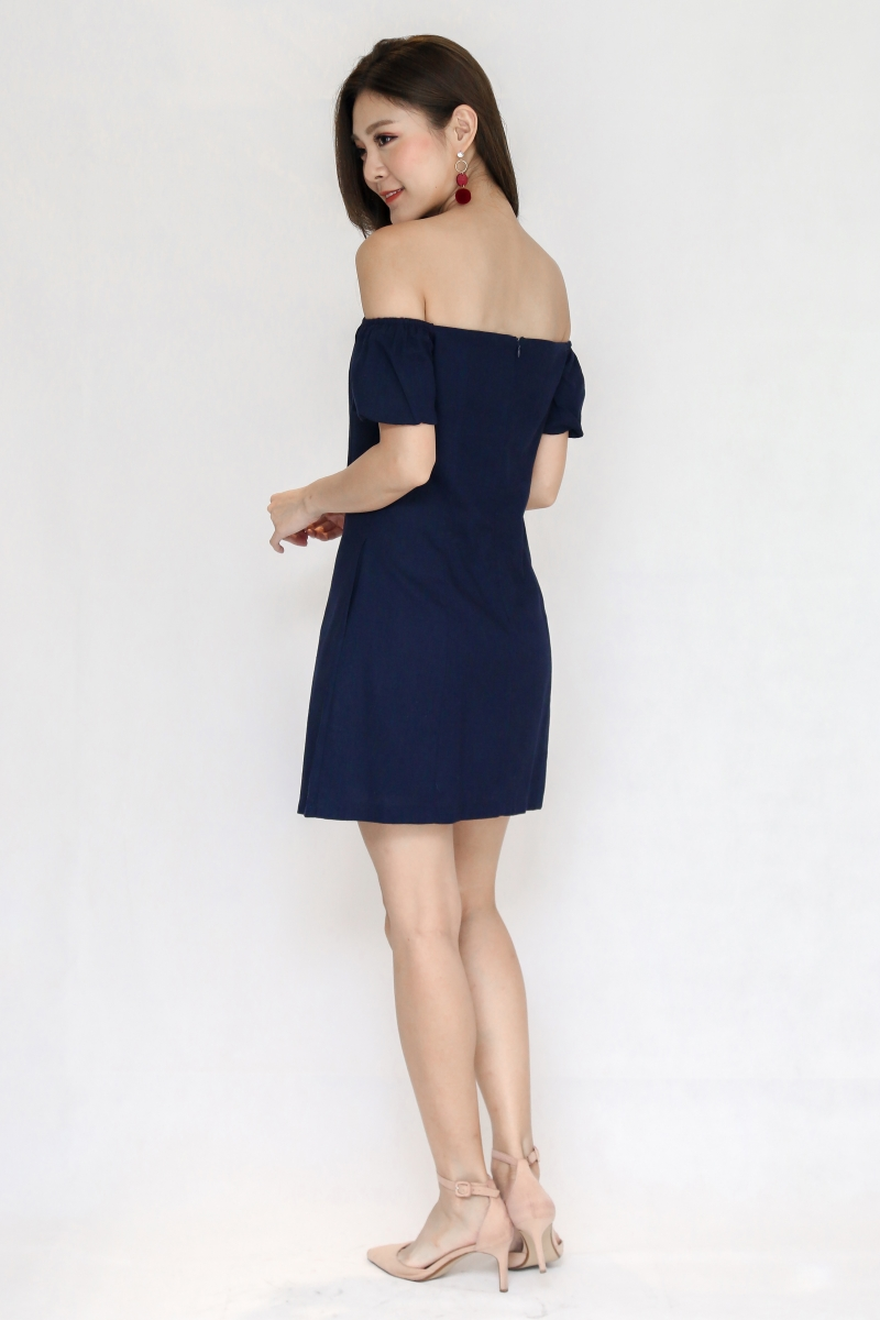 Morley Off Shoulder Dress in Navy
