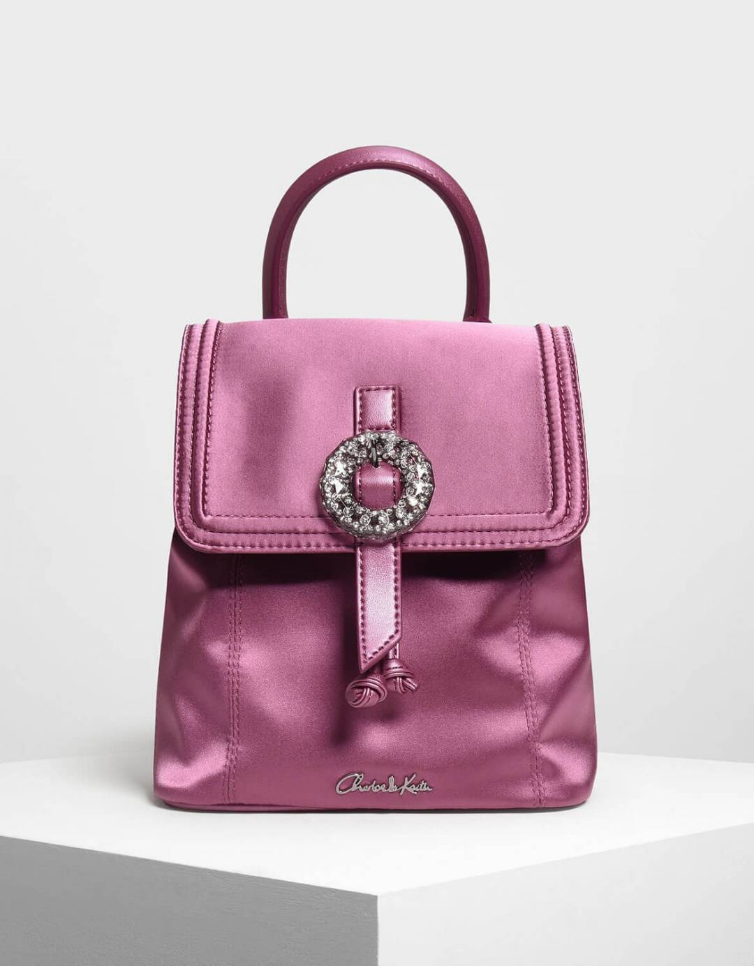 Crushed Gem Effect Buckle Detail Backpack