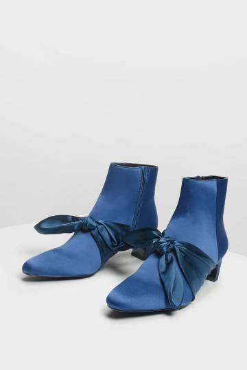 Scarf Bow Ankle Boots