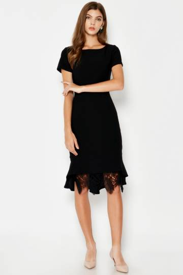 BACKORDER KRISTIE LACE HEM MERMAID DRESS BLACK
