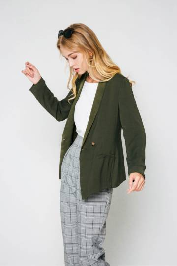 RUTH BUTTON BLAZER OLIVE