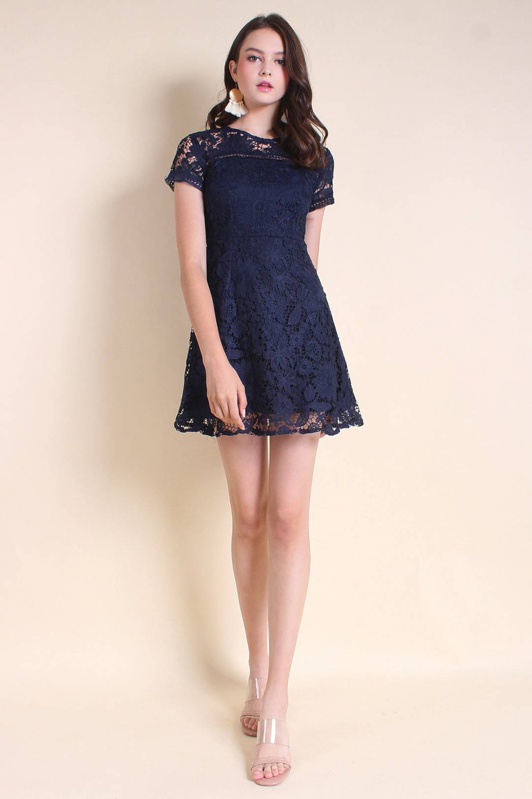 MADEBYNM COVA SLEEVE A-LINE CROCHET LACE DRESS IN NAVY BLUE [XS/S/M/L]