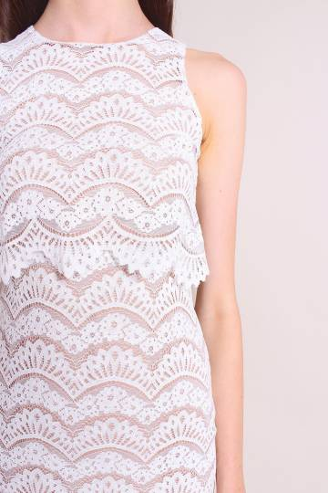 ESMERALDA TIER LACE FITTED DRESS IN WHITE [XS/S/M/L]