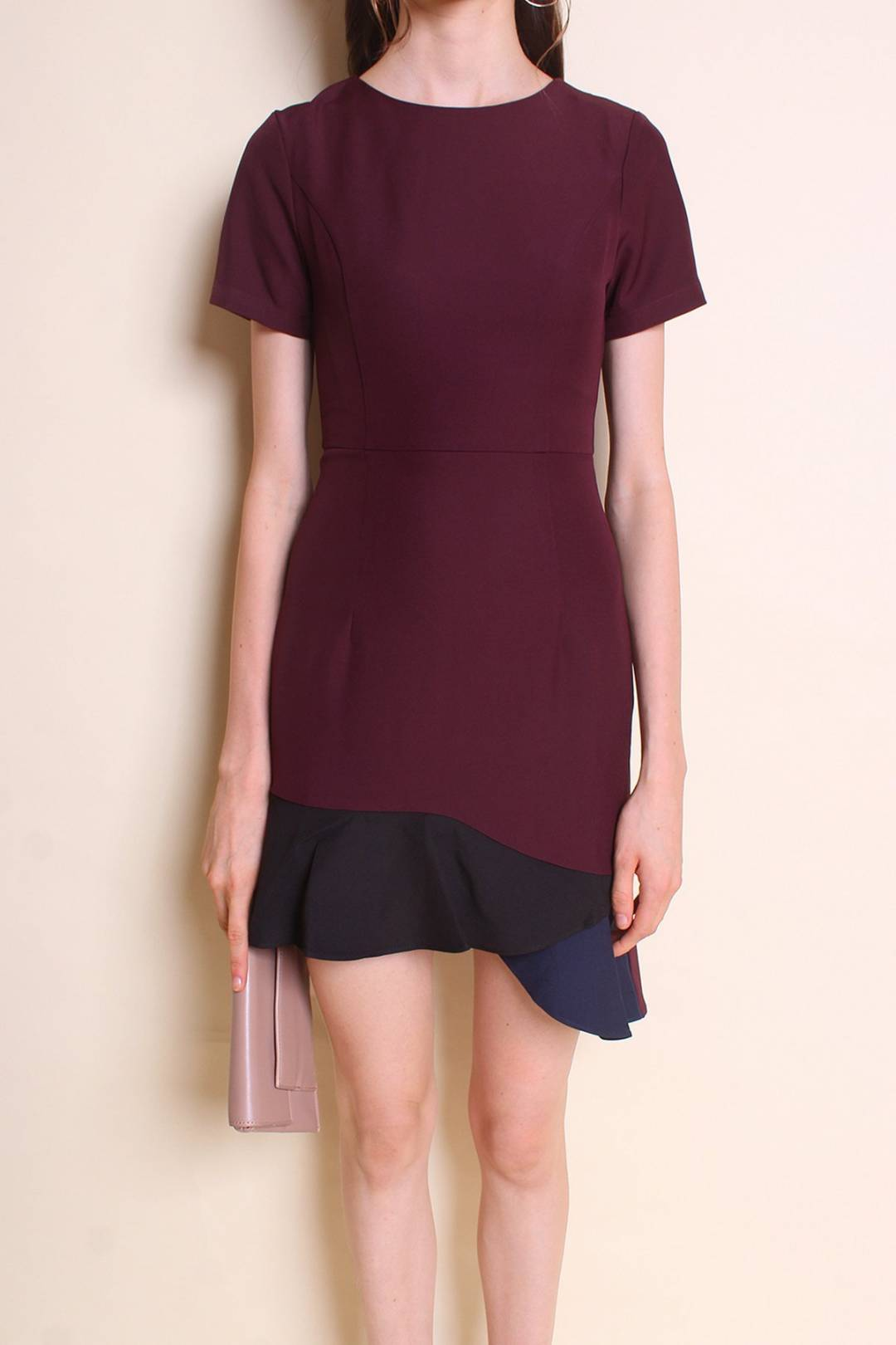 RESTOCKED** CHELSEA COLOURBLOCK SLEEVED WORK DRESS IN BURGUNDY [S/M/L/XL]