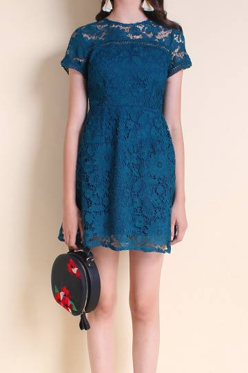 MADEBYNM COVA SLEEVE A-LINE CROCHET LACE DRESS IN TEAL [XS/S/M/L]