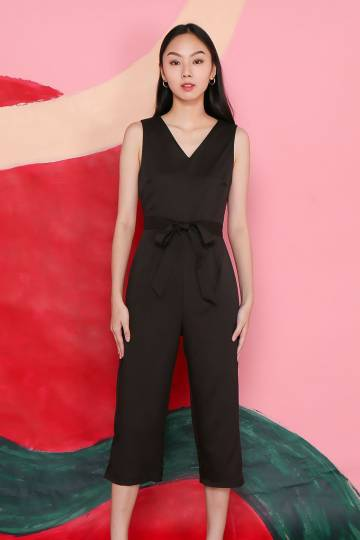 SAWYER BLACK SASH JUMPSUIT