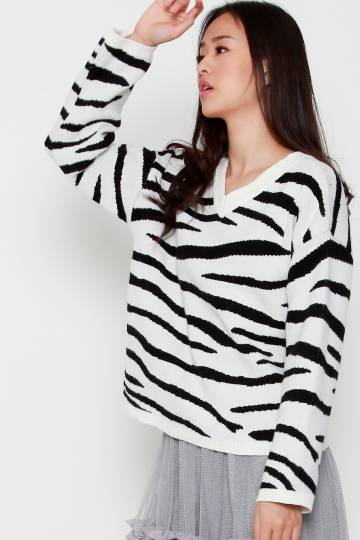 Zebra Knit Top in Black White