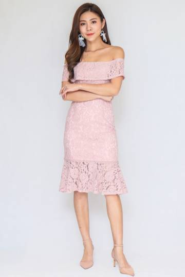 Romantic Lace Off Shoulder Dress In Nude Pink