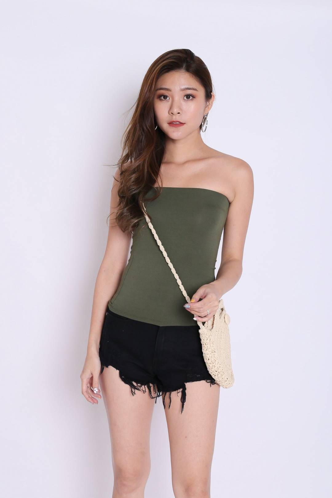 *BACKORDER* THE VERY BASIC TUBE TOP IN ARMY GREEN
