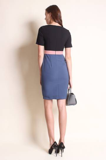 NM EXCLUSIVE MEVIS COLOURBLOCK SLEEVE EXECUTIVE WORK DRESS IN TEAL BLUE [S/M/L/XL]