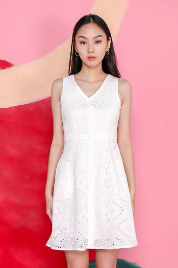 KATIE WHITE EYELET POCKET DRESS