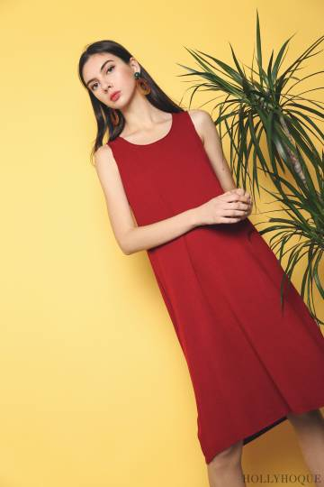 Willa Basic Knit Dress Red