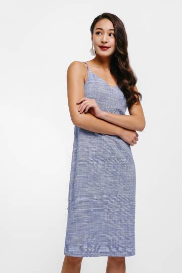 Beyana Tie Back Sash Midi Dress