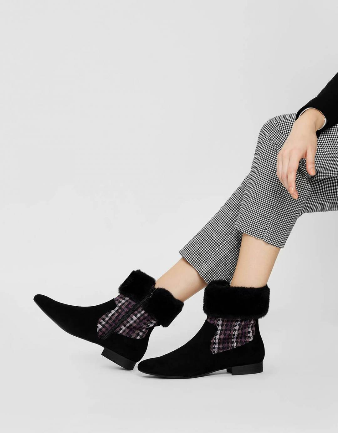 Furry Cuff Printed Boots