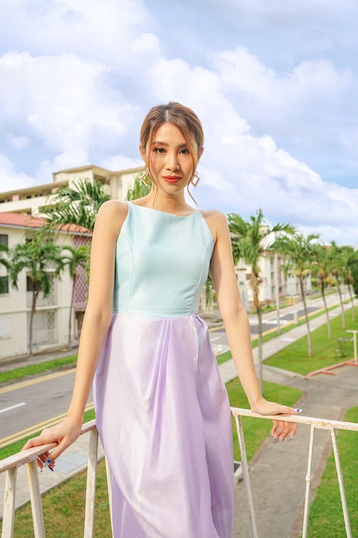 MADEBYNM MERRA HIGH-LOW DRAPE MIDI DRESS IN UNICORN LILAC [XS/S/M/L]
