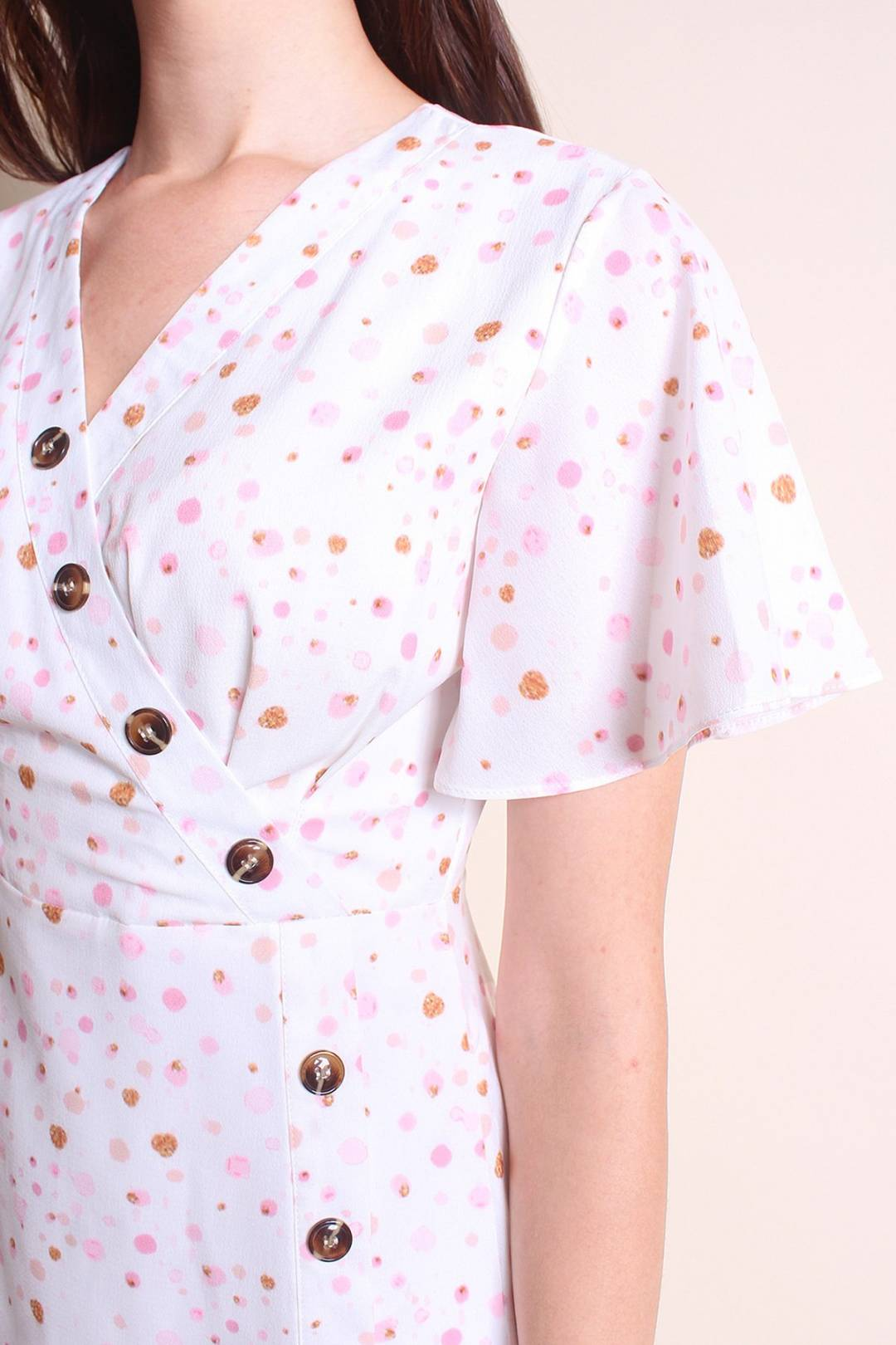 MADEBYNM MAYUMI BUTTONS SLEEVE HI-LO DRESS IN JOLLY WHITE [XS/S/M/L]