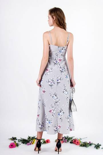 EDEN FLORAL MAXI SLIT DRESS #MADEBYLOVET (GREY)