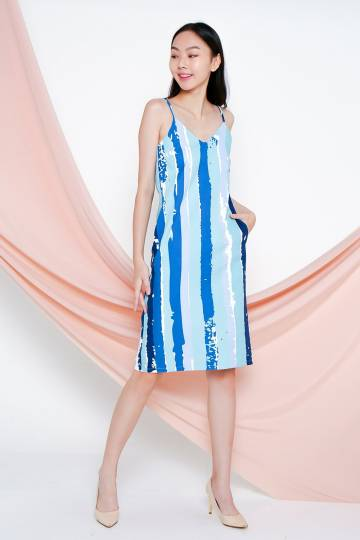 ANABEL COOL ABSTRACT STRIPE POCKET DRESS