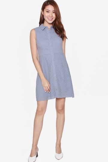 afca7ffae61 CHARLIZE BUTTON DOWN EYELET DRESS WITH COL.