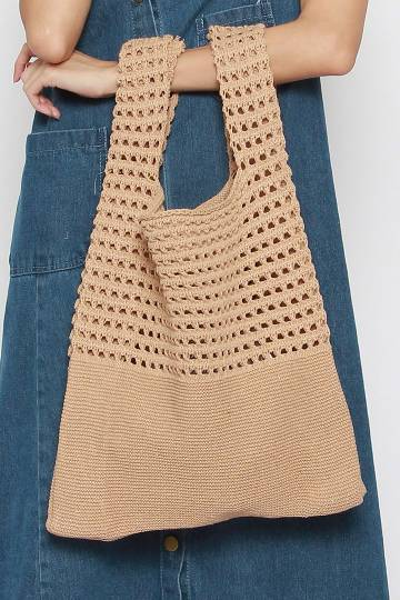 Calie Knit Bag in Brown