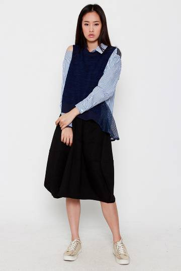 Rindy Stripe Mesh Shirt in Blue