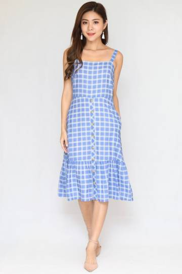 Munfield Checked Dress In Ash Blue (Size L)