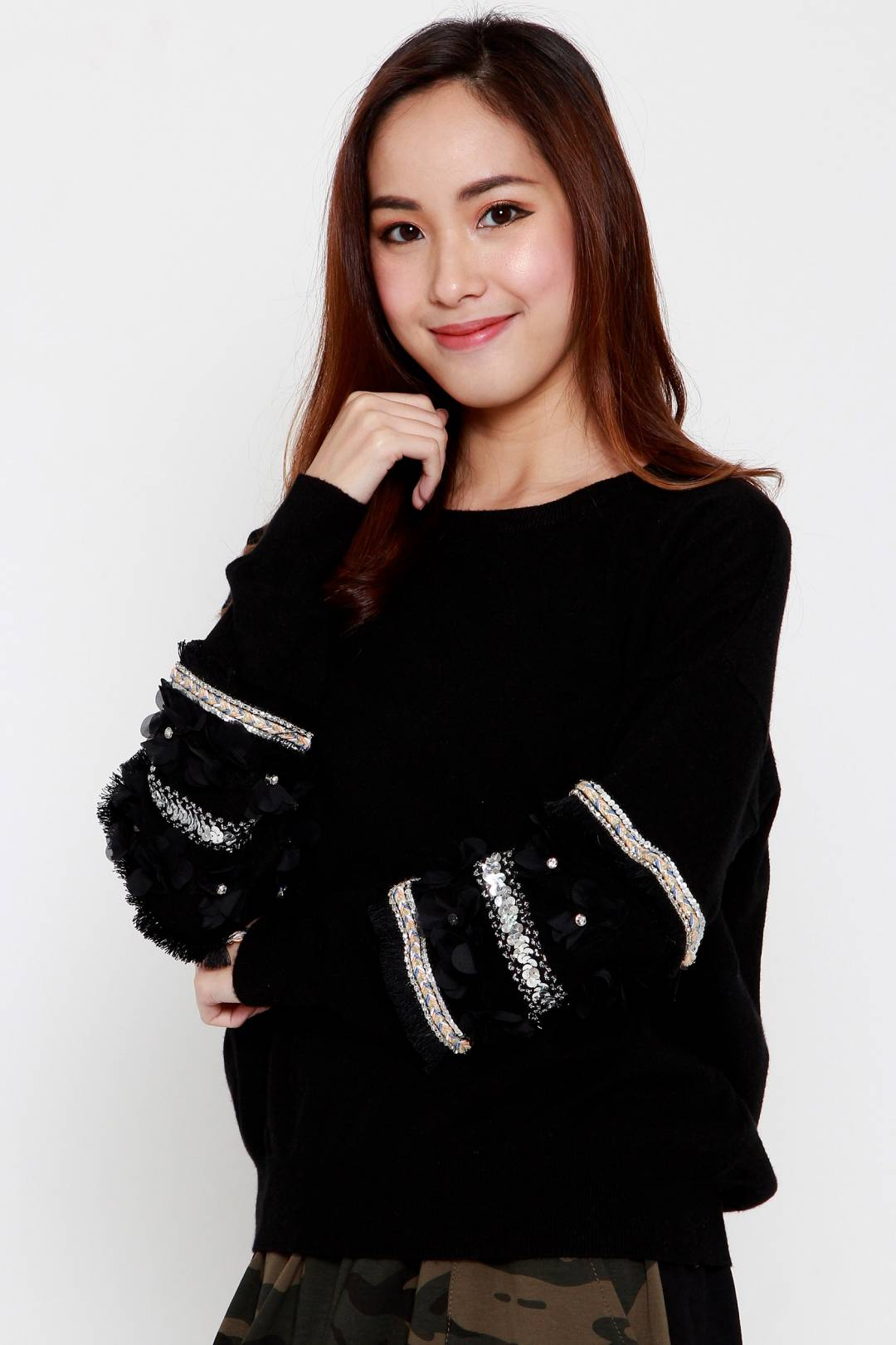 Caitlin Knit Shimmer Top in Black
