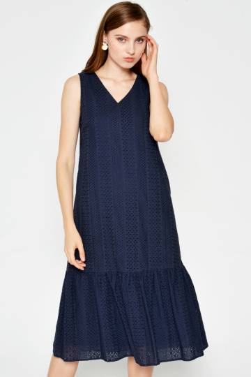 CAIRO EYELET DROPWAIST DRESS NAVY