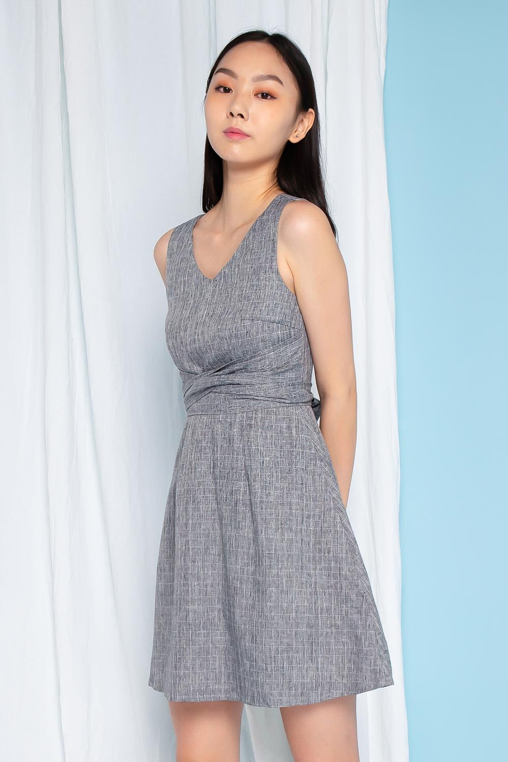 MONICA GREY GRID SASH DRESS