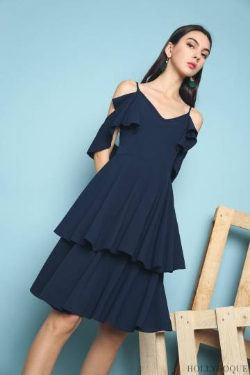 Miu Cold Shoulder Ruffles Dress Navy