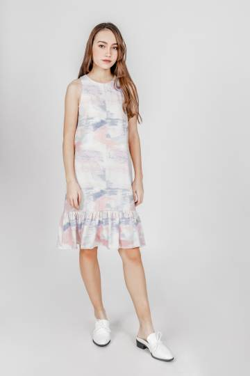 WATERCOLOUR ABSTRACT DROPWAIST DRESS