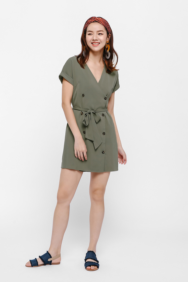 Quentina Button Front Minidress