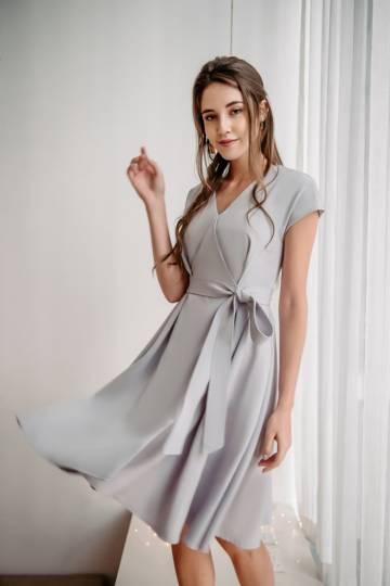 Objectively Obi Dress (Light Grey)