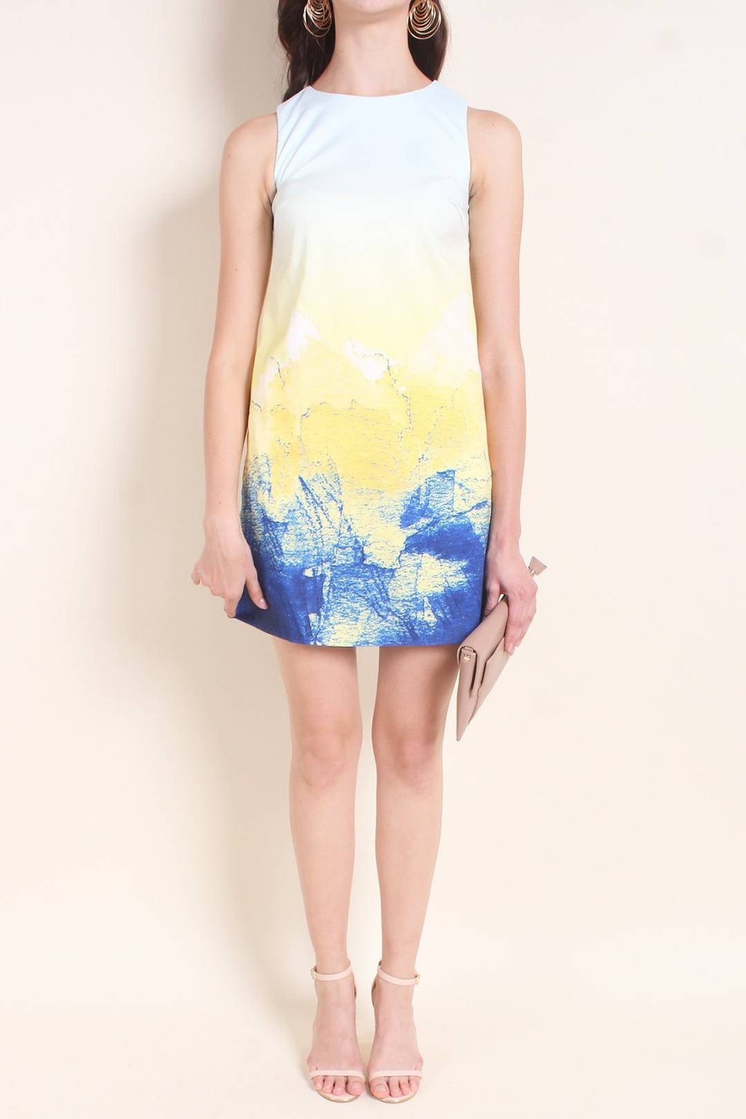 MADEBYNM CHELIA ABSTRACT SHIFT DRESS IN SUNSHINE [XS/S/M/L]